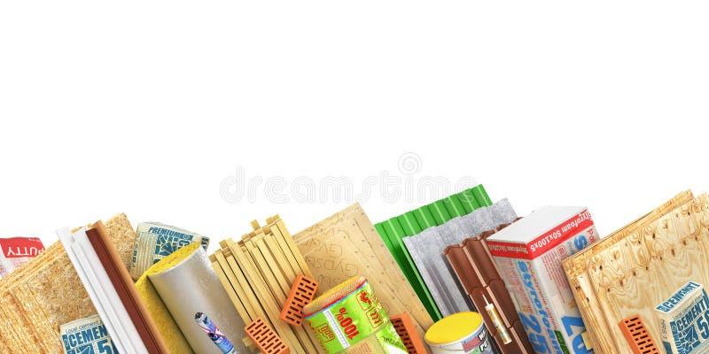 Grupo de materiais de construção no lado da página ilustração royalty free