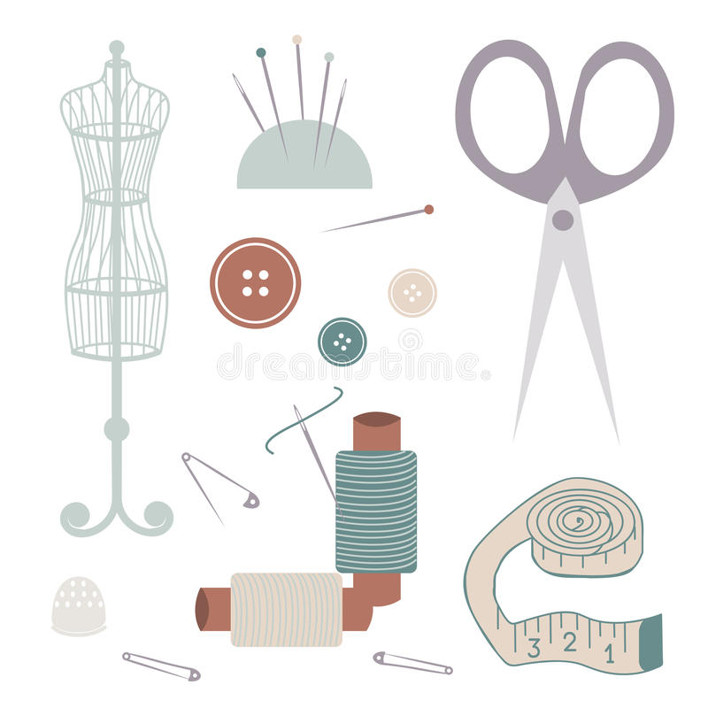 Grupo de materiais da costura ilustração do vetor