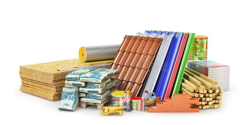 Grupo de materiais e de ferramentas de construção isolados em um fundo branco ilustração do vetor