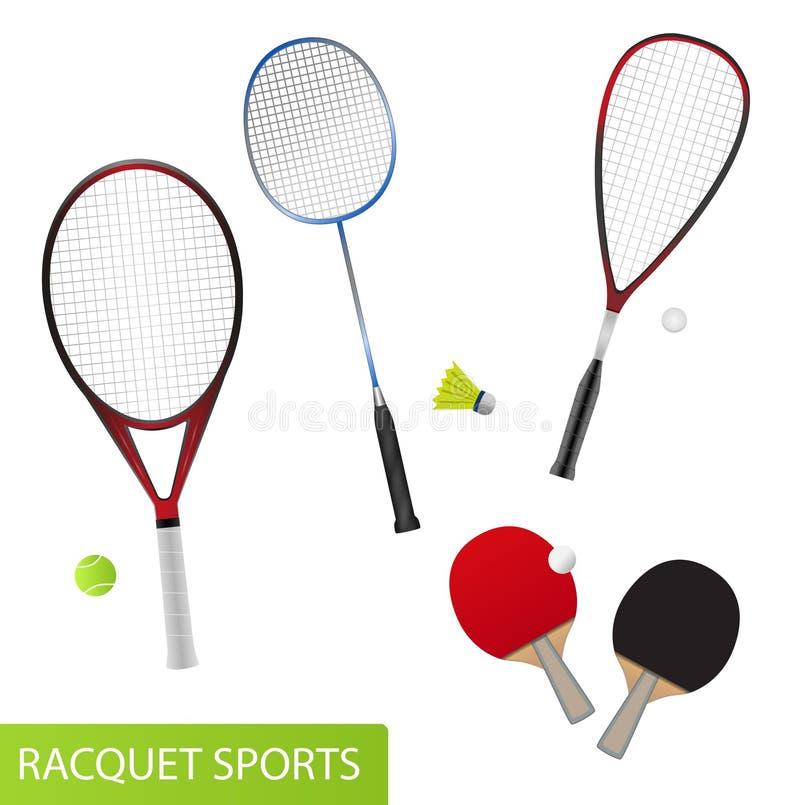 Grupo de material desportivo da raquete para o tênis, o tênis de mesa, o badminton e a polpa ilustração stock