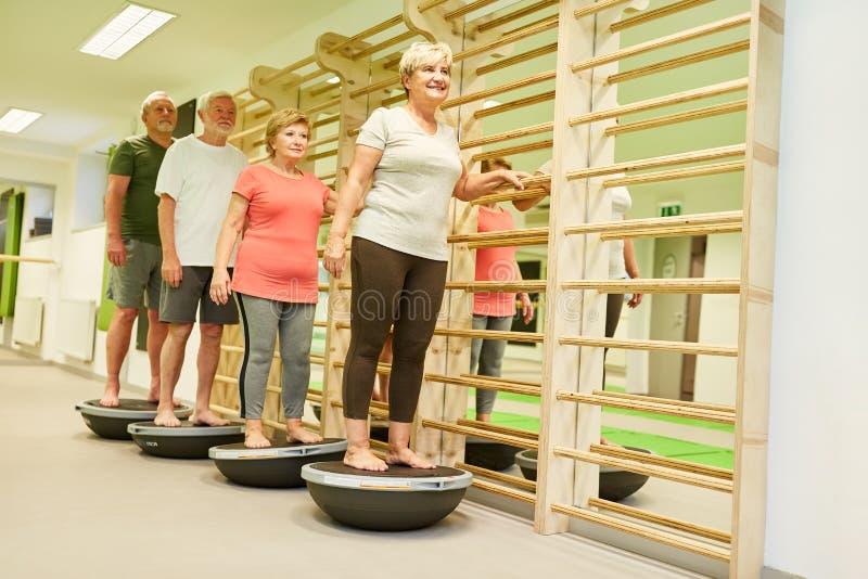 Grupo de mayores en la fisioterapia en la bola de Bosu foto de archivo libre de regalías