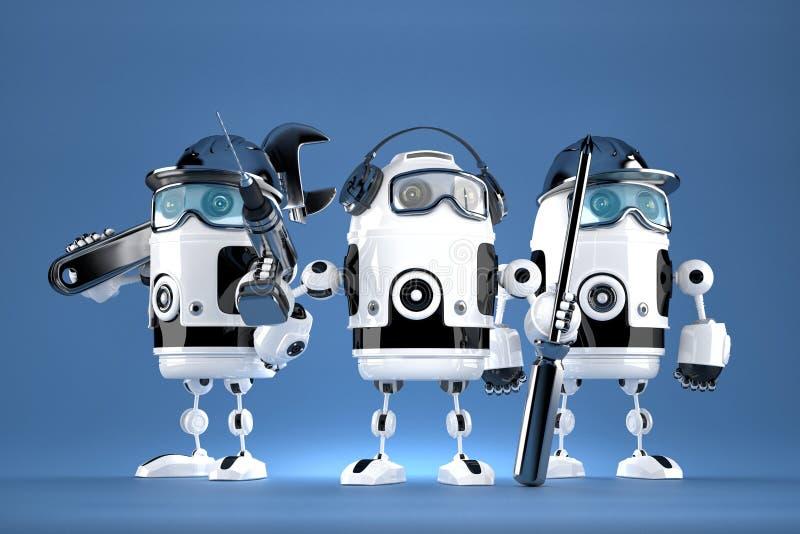 Grupo de mecánicos del robot Concepto de la tecnología Contiene la trayectoria de recortes ilustración del vector