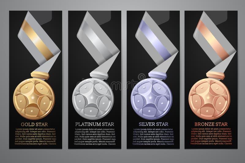 Grupo de medalhas, bandeiras pretas ilustração royalty free