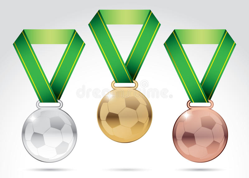 Grupo de medalhas do futebol ilustração stock