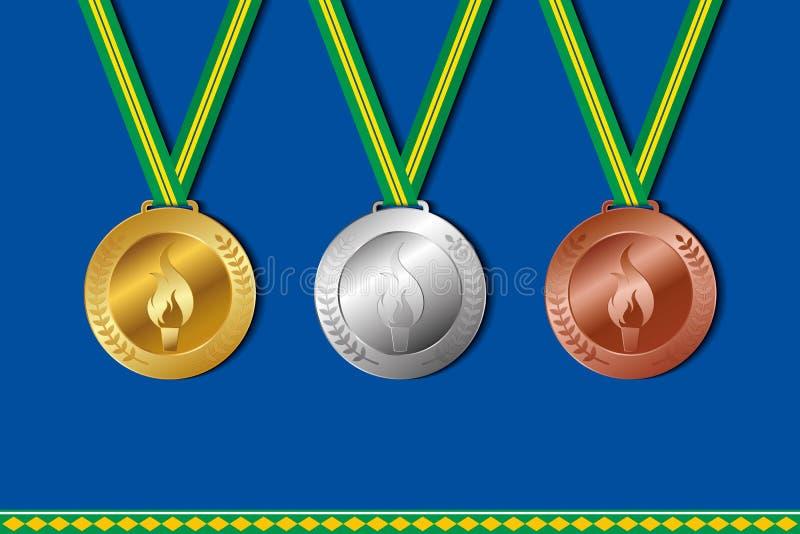 Grupo de medalhas do vencedor com cores da fita de Brasil ilustração royalty free