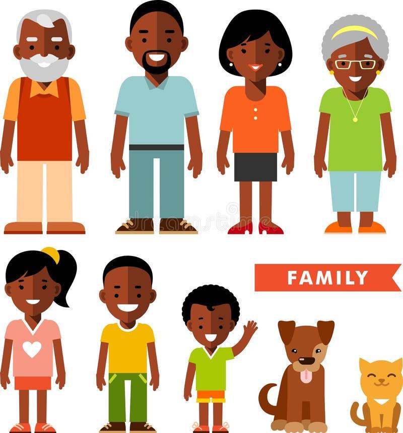 Grupo de membros da família étnicos afro-americanos no estilo liso ilustração stock