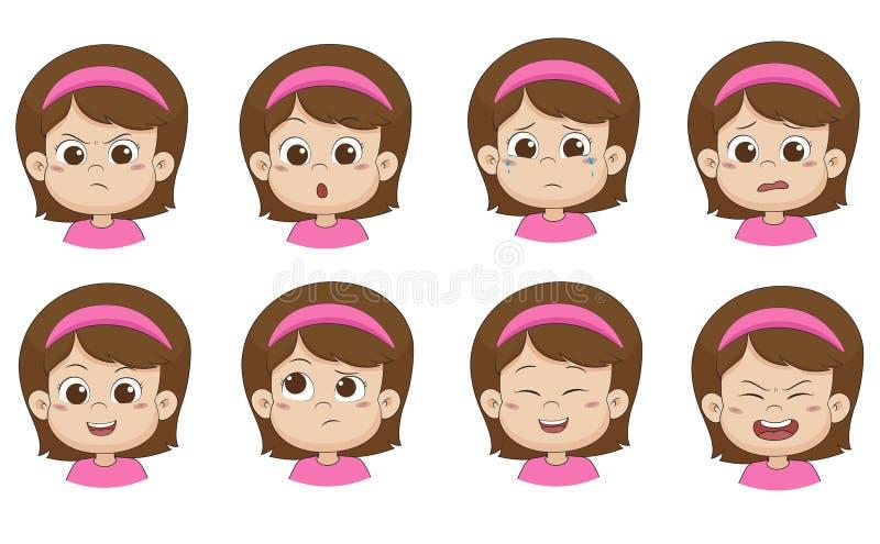 Grupo de menina bonito da emoção Vetor e ilustração ilustração do vetor