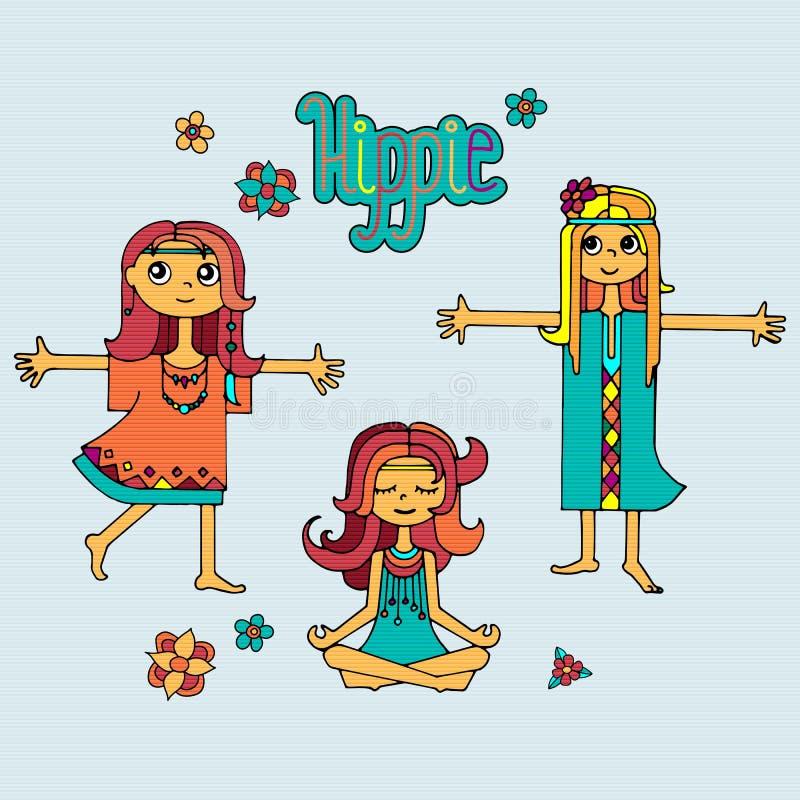 Grupo de meninas da hippie ilustração do vetor