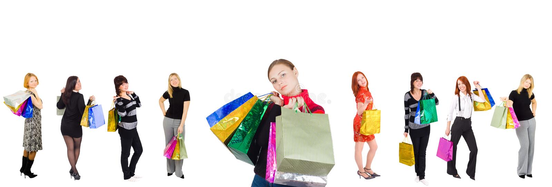 Grupo de meninas de compra imagem de stock