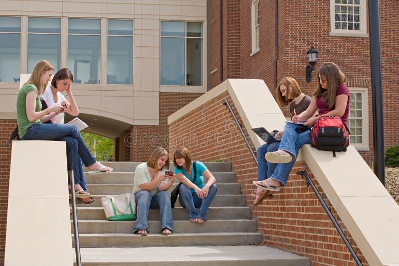 Grupo de meninas de faculdade imagem de stock