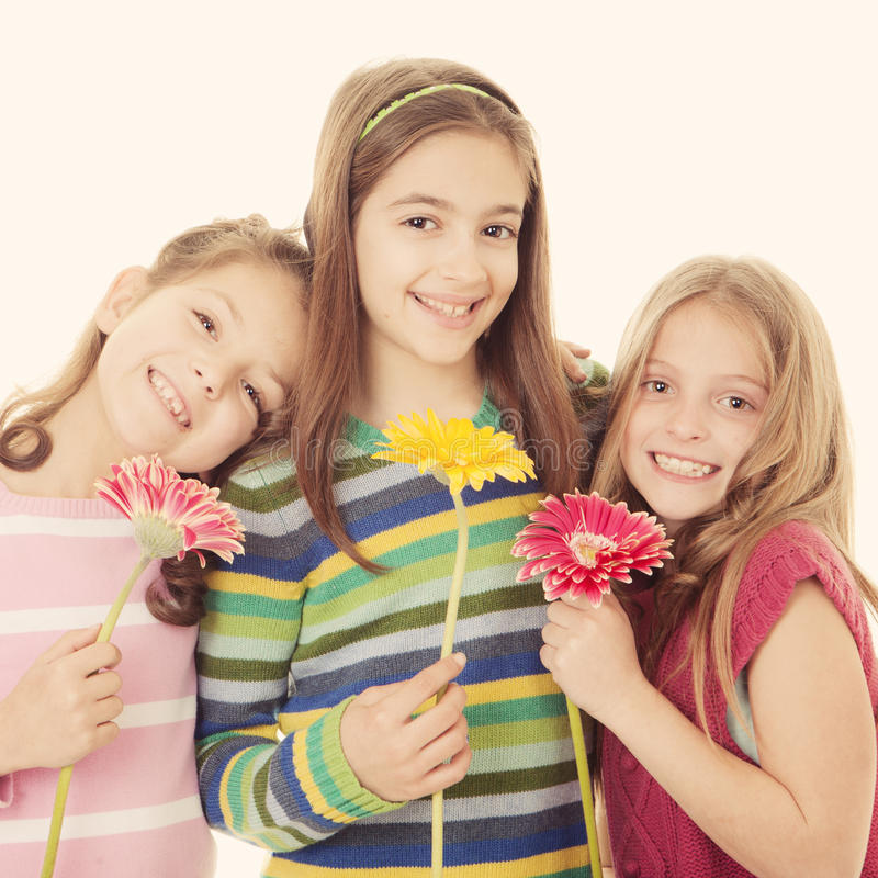 Grupo de meninas de sorriso felizes foto de stock royalty free