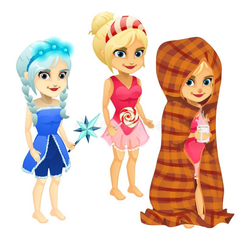 Grupo de meninas no vestido e na manta azuis, cor-de-rosa ilustração royalty free