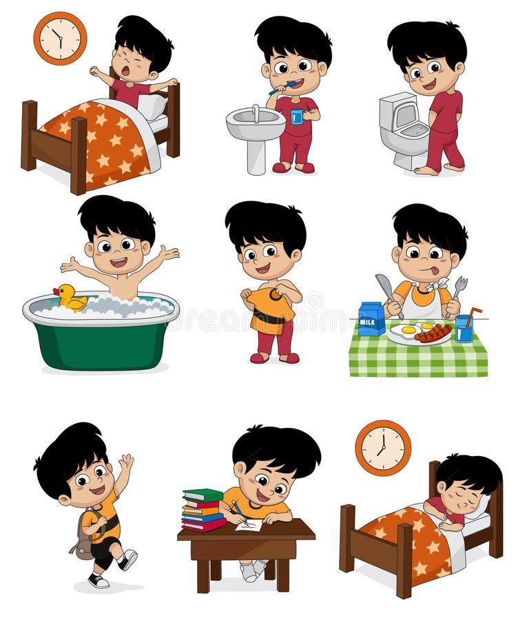 Grupo de menino bonito diário O menino acorda, escovando os dentes, xixi da criança, tomando ilustração do vetor