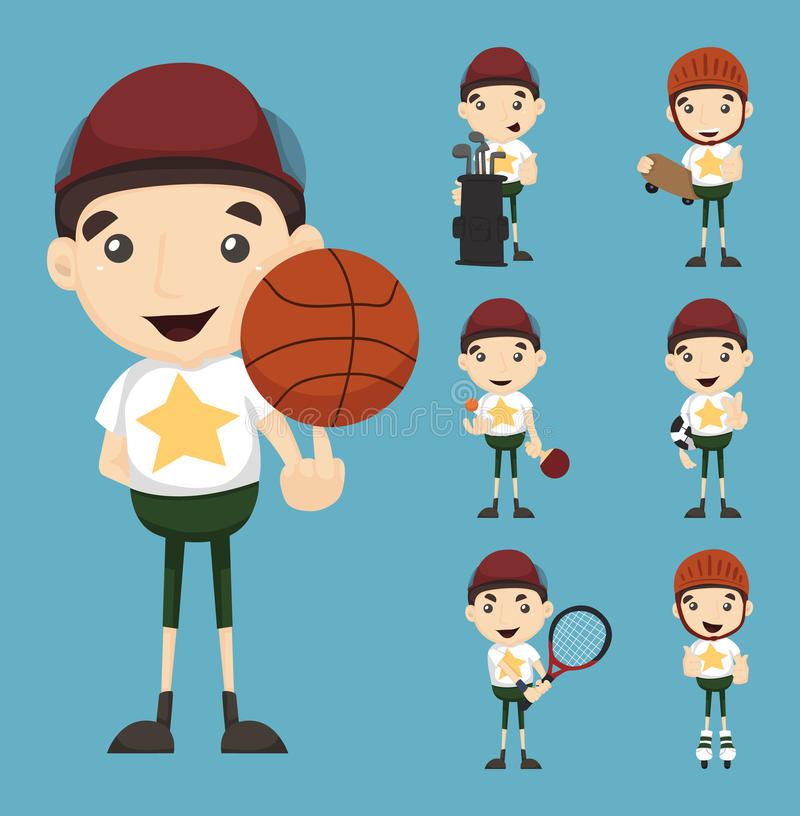 Grupo de menino e de esporte ilustração stock