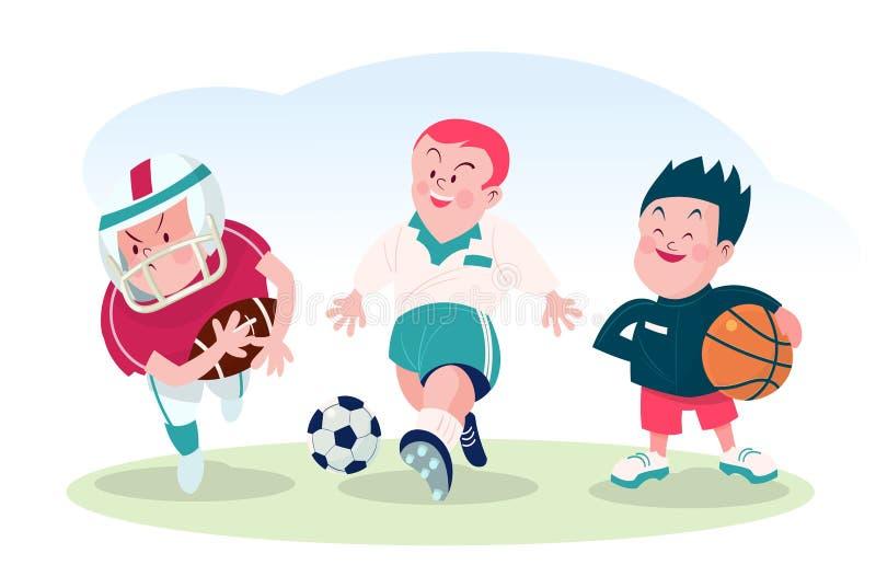 Grupo de menino que joga o futebol e a ilustração do vetor da bola da cesta ilustração royalty free