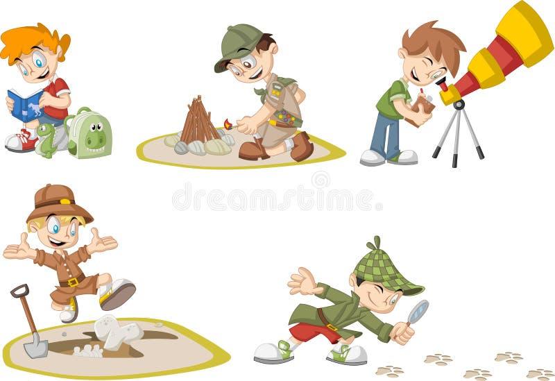 Grupo de meninos do explorador dos desenhos animados ilustração royalty free