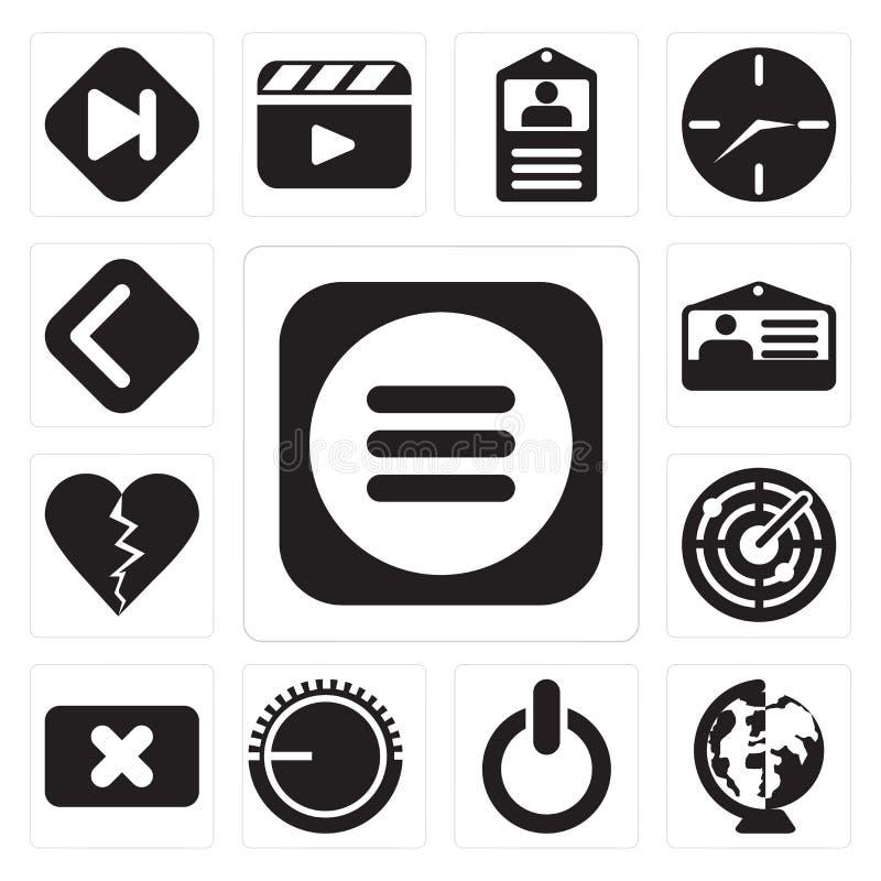 Grupo de menu, mundial, interruptor, controle de volume, fim, radar, Di ilustração do vetor