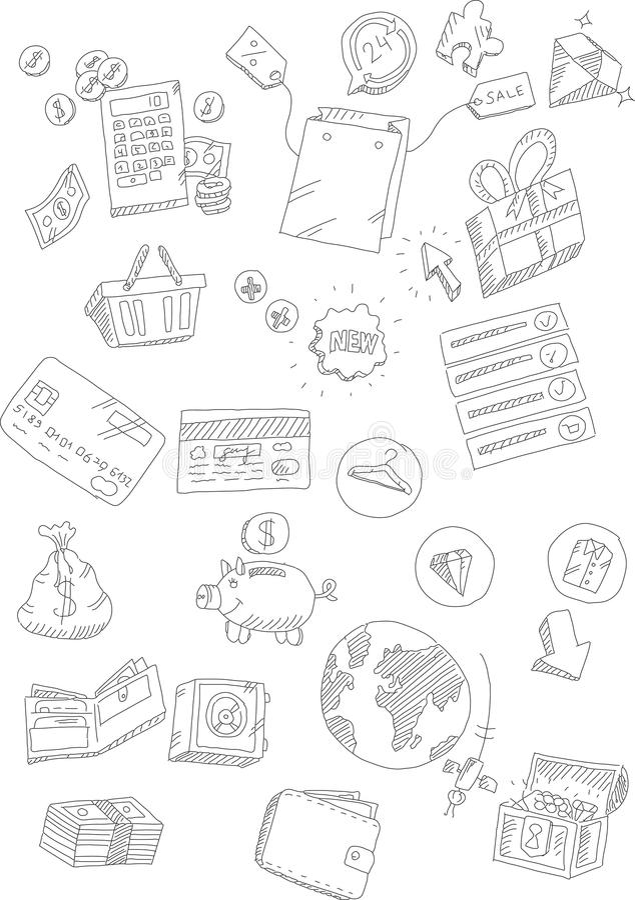 Grupo de mercado e de garatujas em linha de compra ilustração do vetor