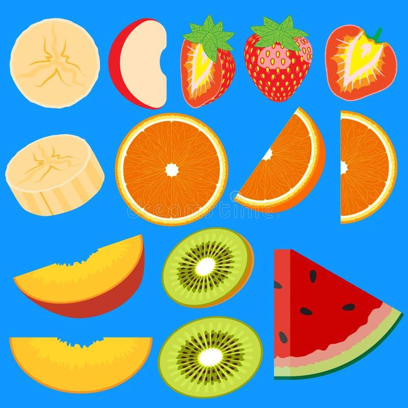 Grupo de metades do fruto Fatias de ma??, p?ssego, quivi, laranja, banana, melancia, morango ?cones do vetor ilustração stock