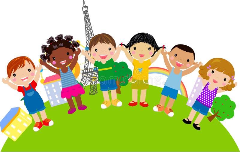 Grupo de miúdos ilustração stock