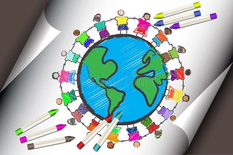 Grupo de miúdos com as raças diferentes que prendem as mãos ilustração stock