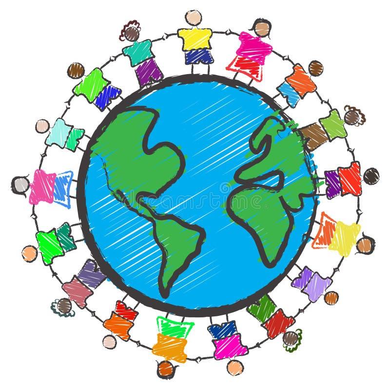 Grupo de miúdos com as raças diferentes que prendem as mãos ilustração do vetor