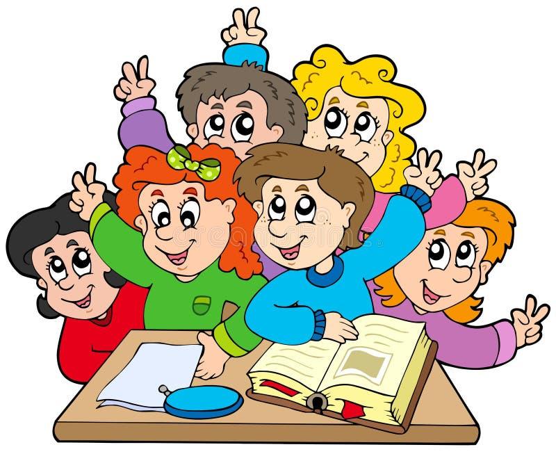 Grupo de miúdos da escola ilustração royalty free