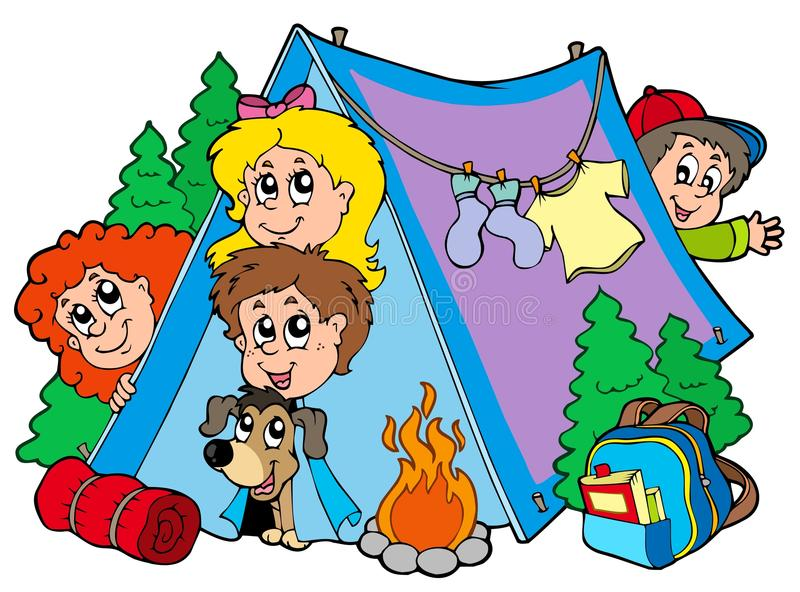 Grupo de miúdos de acampamento ilustração royalty free