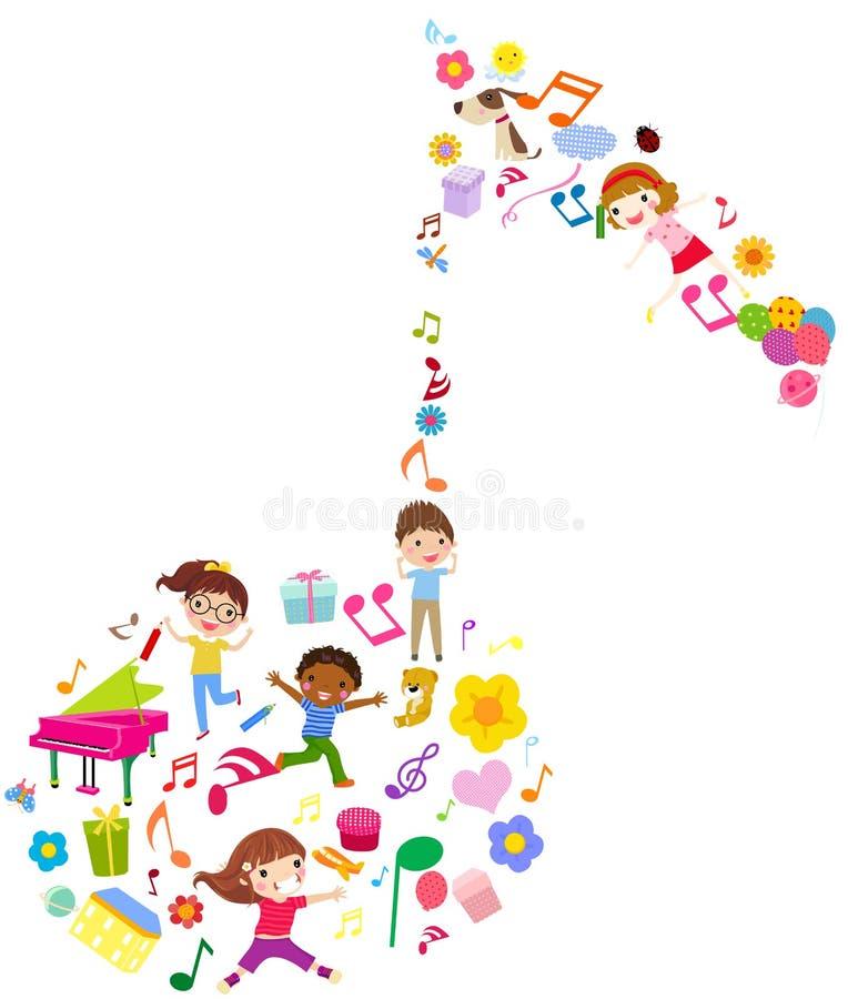 Grupo de miúdos e de música ilustração do vetor