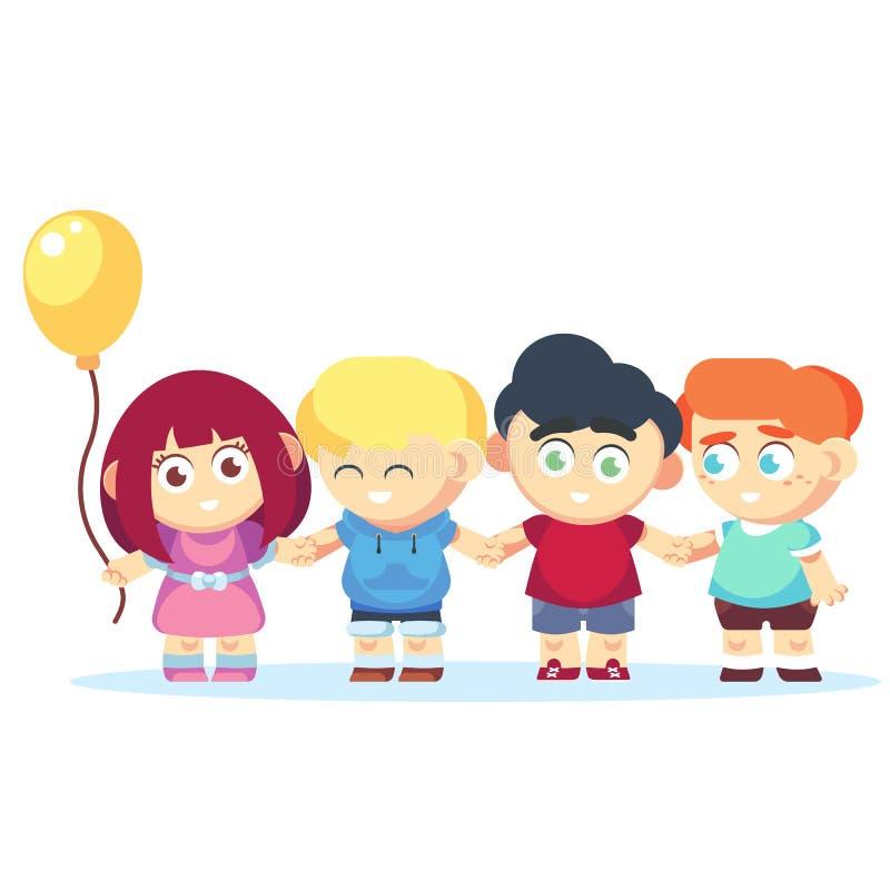 Grupo de miúdos felizes que prendem as mãos Vetor liso dos desenhos animados do conceito da amizade ilustração royalty free