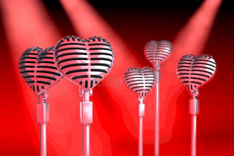 Grupo de micrófonos clásicos en forma de corazón ilustración del vector
