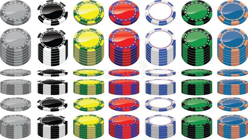 Grupo de microplaquetas de póquer imagem de stock royalty free