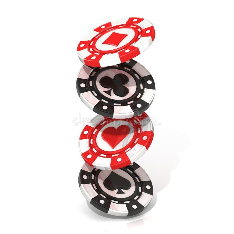 Grupo de microplaquetas de pôquer de jogo de queda, com pá, diamante do coração e clube nele ilustração do vetor