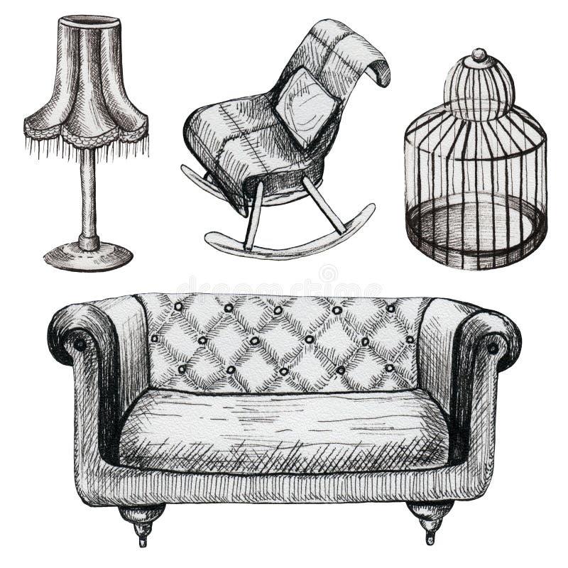 Grupo de mobília gráfica ilustração royalty free