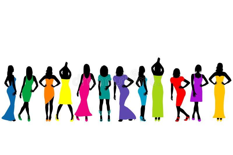 Grupo de modelos bonitos das jovens mulheres ilustração do vetor
