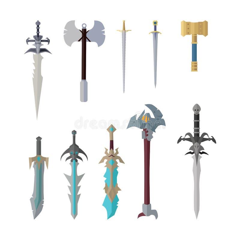Grupo de modelos de vetor fantásticos da arma do jogo ilustração do vetor