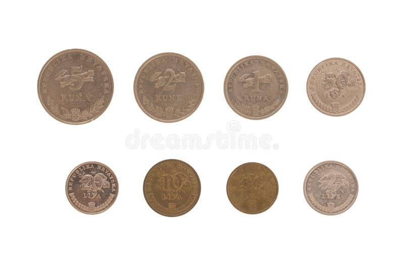 Grupo de moedas croatas foto de stock