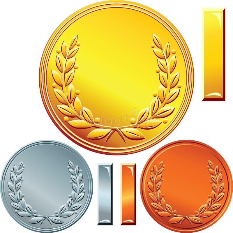 Grupo de moedas do ouro, da prata e do bronze ilustração royalty free