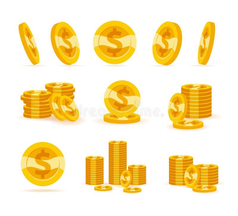 Grupo de moedas douradas lisas isoladas no fundo branco ilustração royalty free