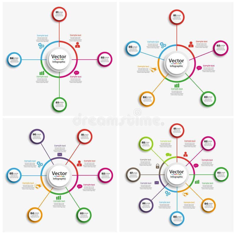 Grupo de molde colorido do infographics com etapas, opções ilustração stock