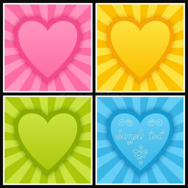 Grupo de molde com corações azuis, verdes, cor-de-rosa e amarelos brilhantes ilustração do vetor