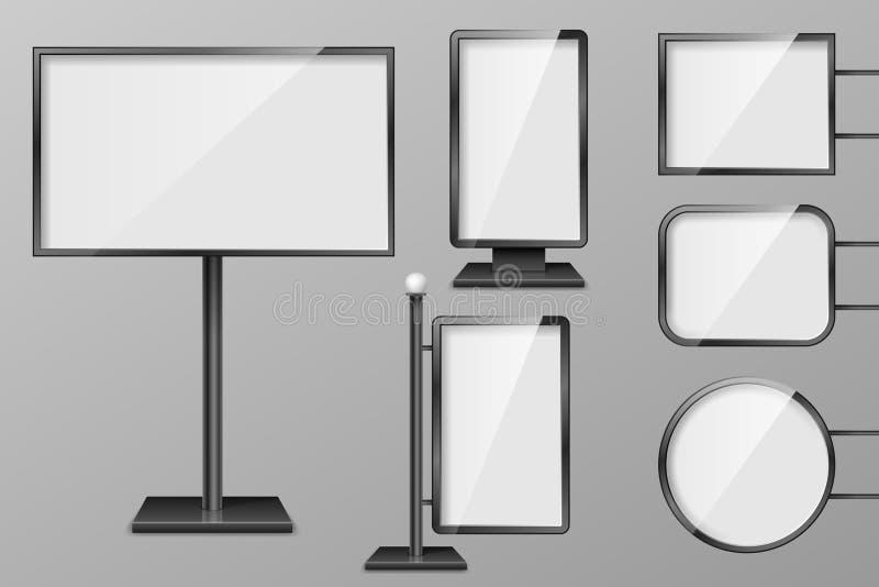 Grupo de molde das caixas leves Quadros de avisos exteriores da iluminação do retalho 3d Placas realísticas para o anúncio e o pr ilustração do vetor