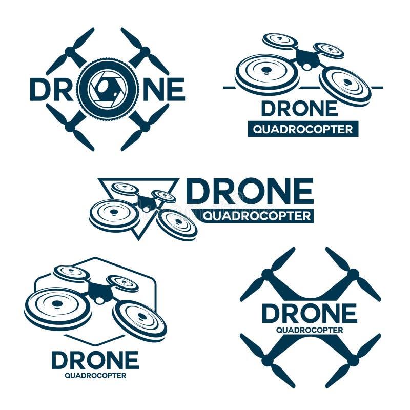 Grupo de molde do logotipo do quadrocopter do zangão ilustração do vetor