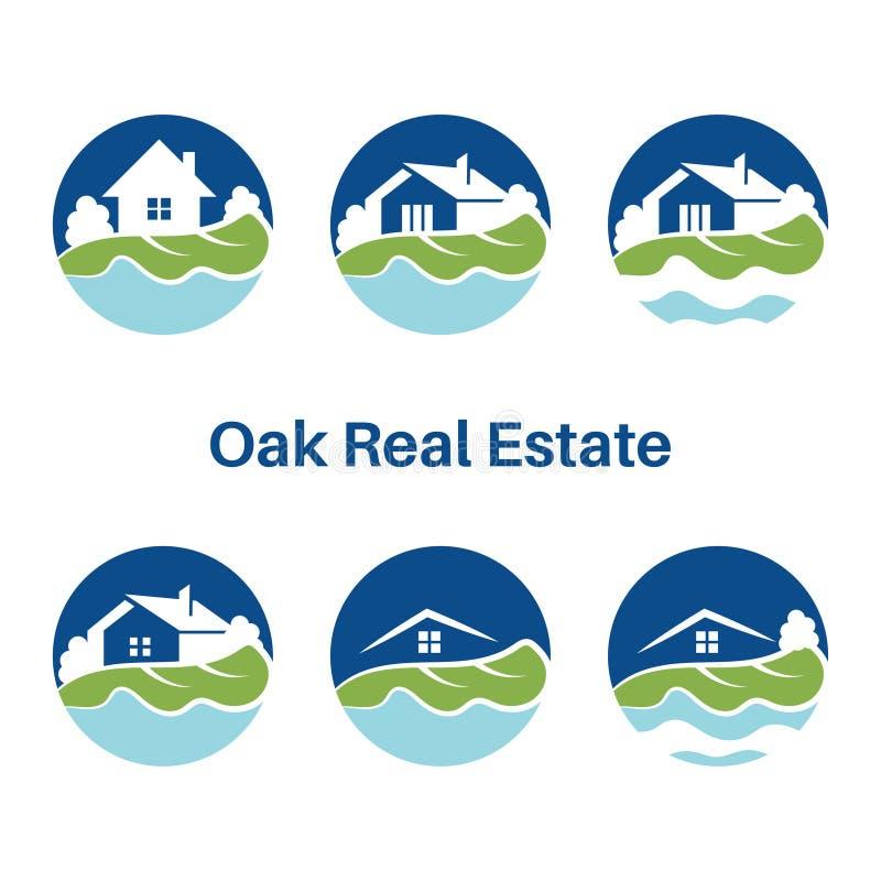 Grupo de molde do logotipo para bens imobiliários com casas ilustração royalty free