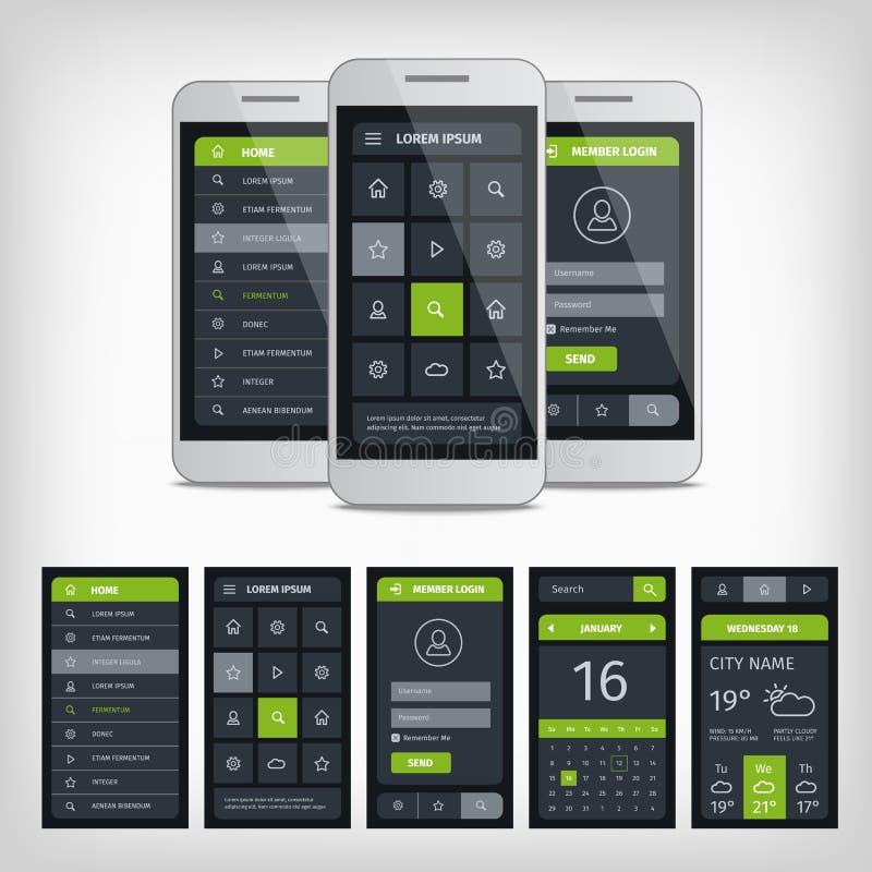 Grupo de molde móvel da relação da aplicação do usuário ilustração stock