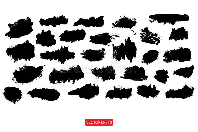 Grupo de molde riscado pintado tirado mão das ilustrações da textura abstrata da escova do fundo das bandeiras do grunge para o p ilustração do vetor