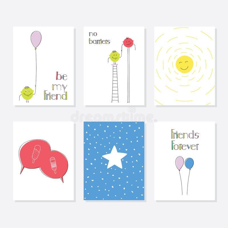 Grupo de 6 moldes criativos bonitos dos cartões com projeto do tema do amigo Entregue o cartão desenhado ilustração do vetor
