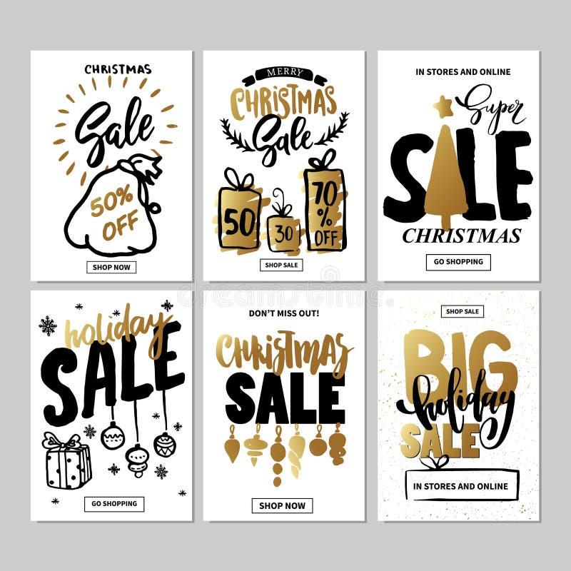 Grupo de moldes criativos da bandeira do Web site do feriado da venda Ilustrações do Natal e do ano novo ilustração stock