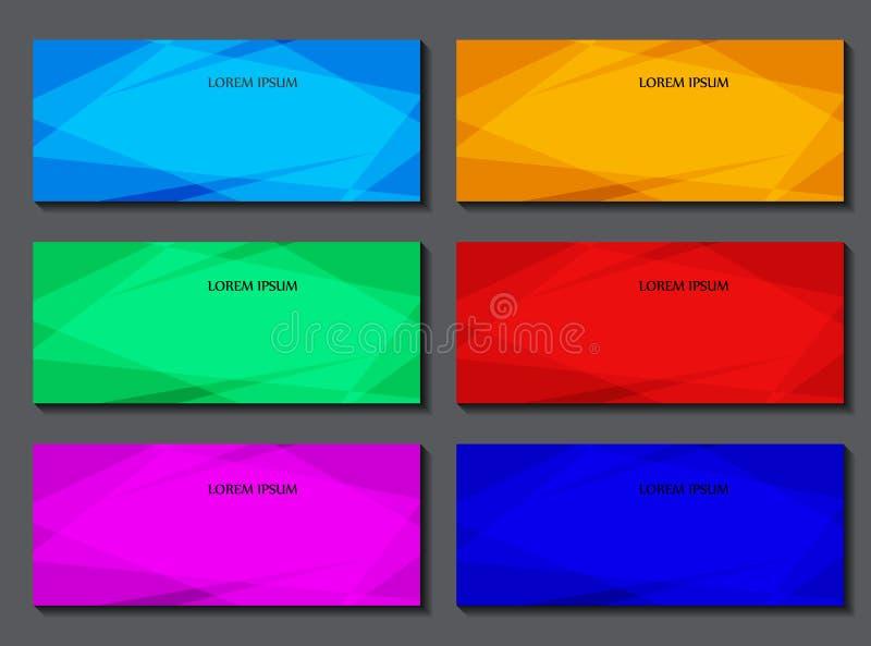 Grupo de moldes da bandeira Projeto dos flayers, das bandeiras, dos folhetos e dos cartões com elementos poligonais ilustração royalty free