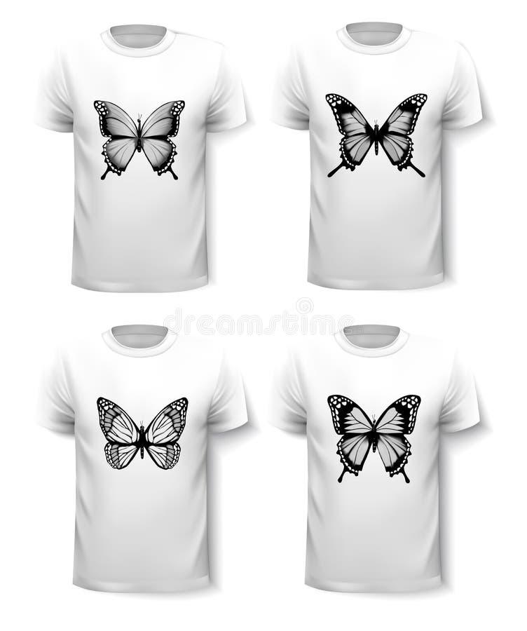 Grupo de moldes da camisa com projetos da borboleta ilustração do vetor